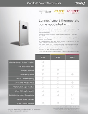 iComfort Smart Thermostat Comparison Brochure